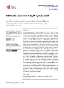 Structural Studies on Ag2O-P2O5 Glasses - Scientific Research ...