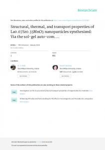 Structural, thermal, and transport properties of La0 ...