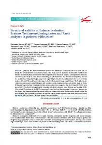 Structural validity of Balance Evaluation Systems Test