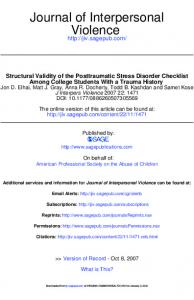 Structural Validity of the Posttraumatic Stress Disorder Checklist ...