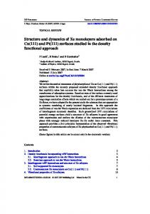 Structure and dynamics of Xe monolayers adsorbed on Cu(111) and ...