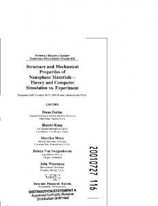 Structure and Mechanical Properties of Nanophase Materials ...