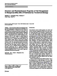 Structure and Photoluminescent Properties of ZnO ... - CiteSeerX
