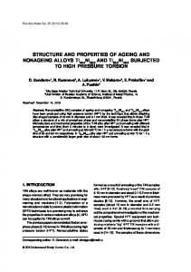 STRUCTURE AND PROPERTIES OF AGEING AND NONAGEING ...