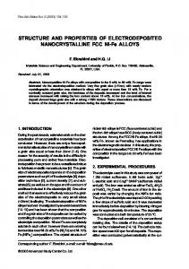 STRUCTURE AND PROPERTIES OF ELECTRODEPOSITED ...