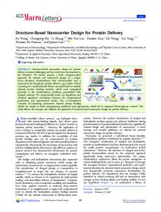 Structure-Based Nanocarrier Design for Protein ... - ACS Publications
