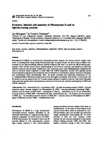 Structure, function and assembly of Photosystem II and ... - Springer Link
