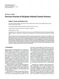 Structure-Function of Falcipains: Malarial Cysteine Proteases