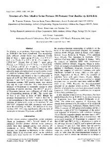 Structure of a new alkaline serine protease (M-protease) from Bacillus ...