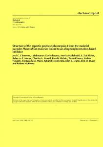 Structure of the aspartic protease plasmepsin 4 from the malarial ...