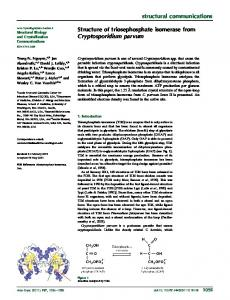 Structure of triosephosphate isomerase from ... - IUCr Journals