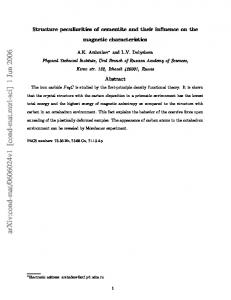 Structure peculiarities of cementite and their influence on the magnetic ...