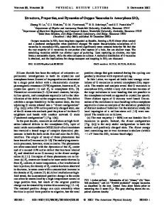 Structure, Properties, and Dynamics of Oxygen ... - Semantic Scholar