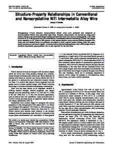 Structure-Property Relationships in Conventional and ... - Springer Link