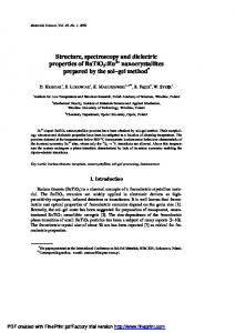 Structure, spectroscopy and dielectric properties of ... - CiteSeerX