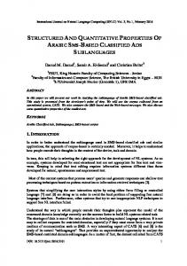 structured and quantitative properties of arabic ... - Aircc Digital Library