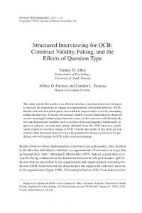 Structured Interviewing for OCB: Construct Validity, Faking ... - CiteSeerX