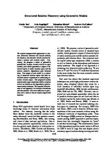 Structured Relation Discovery using Generative ... - Semantic Scholar