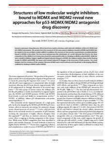 Structures of low molecular weight inhibitors bound to MDMX and