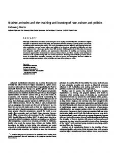 Student Attitudes and the Teaching and Learning of Race, Culture ...