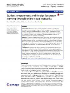 Student engagement and foreign language learning through online ...