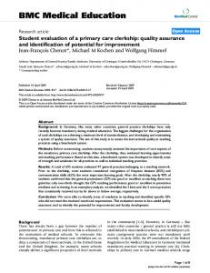 Student evaluation of a primary care clerkship: quality assurance and