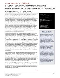 Student Learning in Undergraduate Physics: The ...