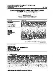 Student Motivation and Learning Strategies of Students from ... - Eric