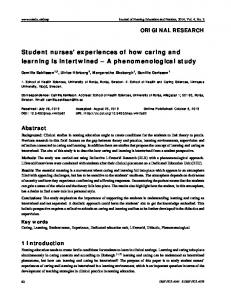 Student nurses' experiences of how caring and learning is intertwined ...
