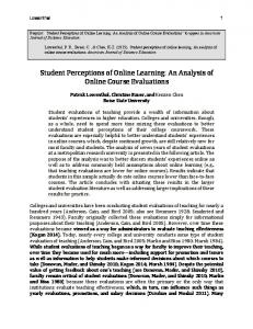 Student Perceptions of Online Learning- An ... - Patrick Lowenthal
