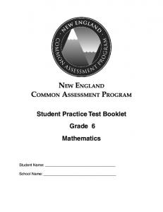 Student Practice Test Booklet 6 Grade Mathematics