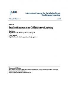 Student Resistance to Collaborative Learning - Digital Commons ...
