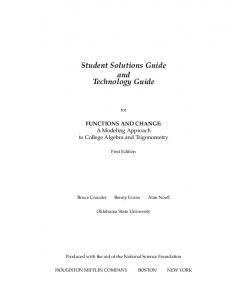 Student Solutions Guide and Technology Guide
