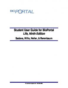 Student User Guide for BioPortal Life, Ninth Edition