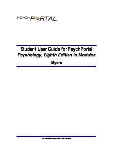 Student User Guide for PsychPortal Psychology, Eighth Edition in ...