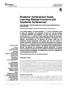 Students' Achievement Goals, Learning-Related Emotions and