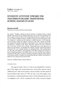 students' attitude toward the teachers in islamic traditional school