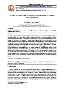 Students' attitudes towards learning English grammar: A study of ... - Eric