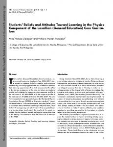 Students' Beliefs and Attitudes Toward Learning in the Physics