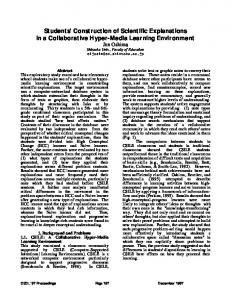 Students' Construction of Scientific Explanations in a ... - Gerry Stahl