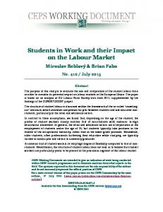 Students in Work and their Impact on the Labour Market - Centre for ...