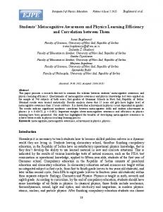Students' Metacognitive Awareness and Physics Learning ... - Eric