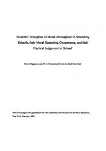 Students' Perception of Moral Atmosphere in ...