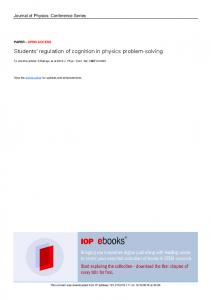 Students' regulation of cognition in physics problem