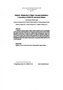 Students' Satisfaction in Higher Learning Institutions - CiteSeerX