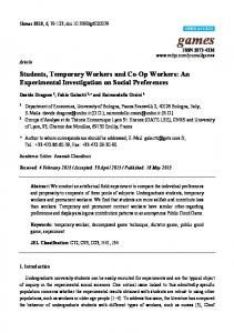 Students, Temporary Workers and Co-Op Workers: An ... - MDPI