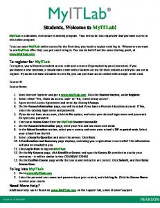 Students, Welcome to MyITLab!