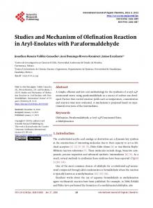 Studies and Mechanism of Olefination Reaction in