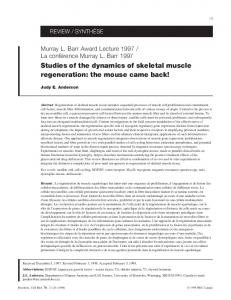 Studies of the dynamics of skeletal muscle regeneration - Canadian ...