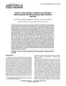 Studies of Various Elements of Nutritional and ... - ACS Publications